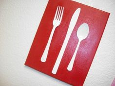 Cute silverware metal canvas. Fun and love the red paint.      #kitchen #decor #diy