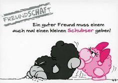 Olaf das Grummelschaf und Poppy Postkarte mit lustigen Sprüchen - Freundschaft Postkarten Freundschaft