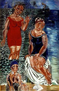 Raoul Dufy Les trois baigneuses (The three bathers), Oil on canvas, 270 x 180 cm. Tachisme, Henri Matisse, Raoul Dufy, Art Fauvisme, Modern Art Styles, Centre Pompidou, Le Havre, Oil Painting Reproductions, Art Moderne