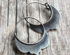 Boho Earrings Silver Hoop Earrings Tribal Silver Earrings Small Hoops Gypsy Earrings Silver Jewelry Artisan Hoop Earrings Organic Rustic