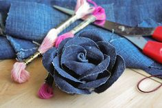 Reusing old and torn jeans to make beautiful rose