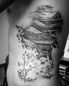 60 Pagoda Tattoo Designs For Men - Tiered Tower Ink Ideas Asian Tattoos, Leg Tattoos, Body Art Tattoos, Sleeve Tattoos, Tattoos For Guys, Cool Tattoos, Japanese Tattoos For Men, Japanese Tattoo Art, Japanese Tattoo Designs