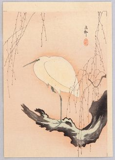 Ohara Koson: Egret on Willow Tree - Ca. 1900-1910s