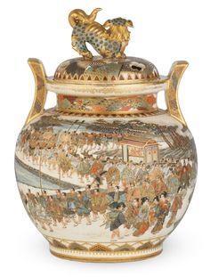 A Satsuma koro (incense burner) and en-suite cover By Nakamura Baikei, Meiji era late century Japanese Porcelain, Japanese Ceramics, Japanese Pottery, Japanese Art, Vases, Japanese Incense, Satsuma Vase, Meiji Era, Art Decor