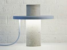 Paris based designer Alexandre Dubreuil has created the Totem Lamp. The lamp is made of solid concrete. A thin, donut-shaped lighting element sits on the Beton Design, Filigranes Design, Concrete Design, Design Studio, Design Trends, Interior Design, Concrete Light, Concrete Lamp, Concrete Column