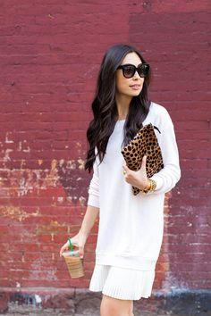 Pleated Sweatshirt Dress - Clu dress // Pour La Victoire heels Clare Vivier clutch // Celine sunglasses // Vita Fede and Brandy Pham bracelets Wednesday, May 21, 2014