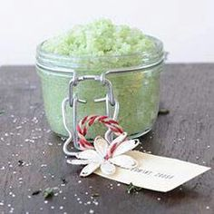 PEPPERMINT FOOT SCRUB  *½ cup of sugar, the coarsest available (try raw sugar)  *½ cup Epsom salts  *½ cup of coconut oil (or olive oil)  *10-15 drops of peppermint essential oil  *4-5 drops of Tea Tree Oil (optional)  *2 drops of green food coloring (optional.) I used 4 drops, but I think it's a bit too dark.  **Mix them all together and pour into a jar. Label with a one year used by date and with the following instructions: Use once a week prior to showering or in a foot bath.