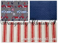 Red Blue Speedster Race Cars, Red Ticking, and Navy Crib Bedding Ensemble