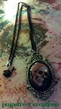 Gothic Victorian Resin Skull Cameo Pendant by PulpStreetCreations, $18.00