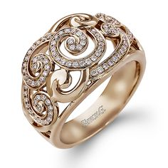 Simon G ~ Duchess Collection - This fabulous 18K rose gold ring is comprised of .33ctw round white Diamonds. - TR511