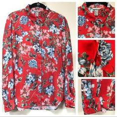 H&M Tops | Hm Red Blue Green Floral Button Down Blouse Top | Poshmark Button Downs, Button Down Shirt, Red Blue Green, H&m Tops, Shirt Dress, Blouse, Hemline, Colorful Shirts, Buttons