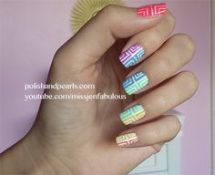 rainbow geometric #nailart