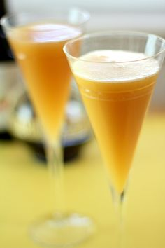 Mimosas with an attitude! Add some Chambord, cranberry or cherry liqueur!