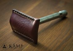 Safety razor leather sheath cover case cherry by KampLeatherwork