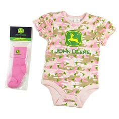 Pink Infant Onesie with Tractors w/Socks