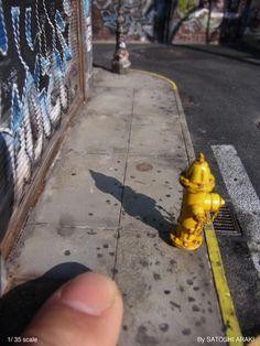 【Myジオラマ作品】 ダウンタウン。 歩道には、ガムを吐き捨てた跡「ガムスポット」が残ります。。。