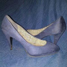 Blue Suede Heels Good condition, no marks or tears in suede. Some wear on bottom. Still a lot of wear left in these beautiful heels. FIONI Clothing Shoes Heels