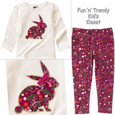 NWT Crazy 8 Girls Size 3T or 5T Bunny Tee Shirt Top & Floral Leggings 2-PC SET #Crazy8 #Everyday