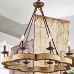 Bold Scalloped Weathered Chandelier - 8 Light weathered_wood_and_iron Cabin Chandelier, Wooden Chandelier, Farmhouse Chandelier, Chandelier In Living Room, Large Chandeliers, Candle Chandelier, Beaded Chandelier, Chandelier Shades, Chandelier Lighting