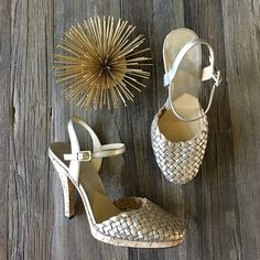 MICHAEL Michael Kors leather and cork heels The perfect summer heels!  Gold braided leather toe, a cork platform heel, and an ankle strap for added comfort.  The light gold color can go with so many summer outfits! MICHAEL Michael Kors Shoes Heels