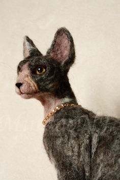 Needle felting cat, felted Sphynx cat, cat lovers gifts, sphynx cat sculpture…