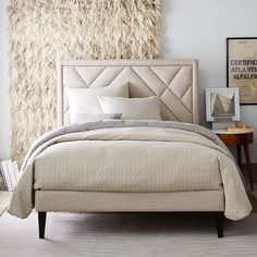 Narrow Leg Upholstered Bed Frame - Natural | west elm