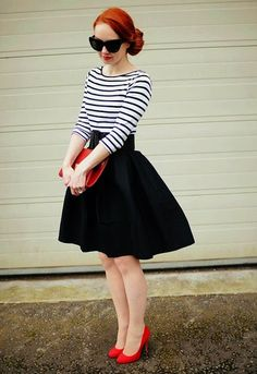 Just a pretty style | Latest fashion trends: Women's fashion | Striped shirt and belted high waisted midi skirt