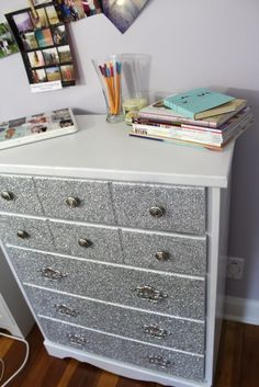 DIY Glitter Dresser. Awesome for a girls bedroom. Guys might not like it so much.@Gretchen Schaefer Schaefer Schaefer Schaefer Schaefer Reineke this so so you!!!!
