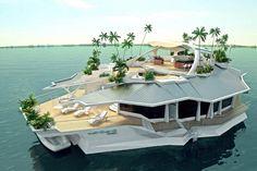 Île flottante artificielle #croisiere https://www.facebook.com/croisieres.de.luxe