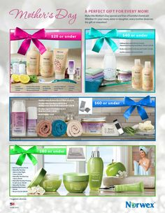 Look at all the wonderful Mother's day specials. Personally, I LOVE the Lotion and the Bath Gel. I'll be treating myself www.patriciatichenor@norwex.biz