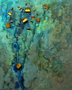 "CAROL NELSON FINE ART BLOG: Mixed media abstract painting, ""Sunken Treasure"" Carol Nelson Fine Art"