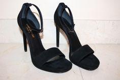 0309b785fa9 Saint Laurent Ysl Yves Jane Suede Leather Ankle Strap 37 Nib Black Sandals.  Get the