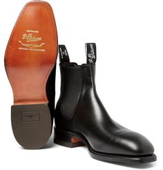 R.M.Williams has been handcrafting footwear in Australia for over 80 years. These black leather Chelsea boots uphold the label's exacting standards, with a sleek and contemporary look that will take you from the outback to the city with ease. Leather linings deliver on comfort and rubber sole inserts provide practical grip. This built-to-last pair will wear handsomely with age, so you can rely on them for decades to come.
