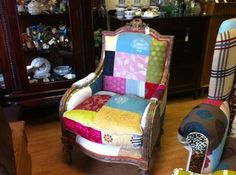 French Patchwork Chair Patched Fabric Chic Louis Styled Vintage Antique Chairs | eBay