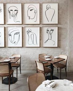 Line art – 5 Reasons why this particular artistic deco idea is so popular right now - Daily Dream Decor Cafe Interior, Interior Design, Gallery Cafe, Gallery Walls, Bd Art, Abstract Line Art, Wall Decor, Wall Art, Hospitality Design