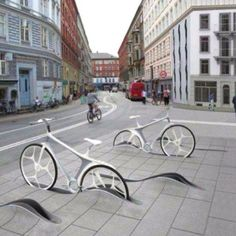 New bike share concept design in Switzerland by RAFAA - these bikes are so sleek and the use of urban camouflage is ingenious. Note the street design of bike lanes as wide as car lanes. Urban Furniture, Street Furniture, Furniture Stores, Cheap Furniture, Outdoor Furniture, Urban Landscape, Landscape Design, Landscape Architecture, Architecture Design