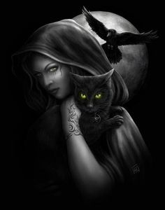 Cats and broomsticks To Obtain Money...- from Celtic Magic by D. J. Conway  Done During the Full Moon...