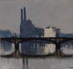 Andrew Gifford - Chelsea Wharf from Albert Bridge - Grey (1) - 2004  Oil on panel 10 x 10 ins (25.40 x 25.40 cms)