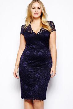 Cheap Navy Blue Scalloped V-neck Lace Plus Size Midi Dress