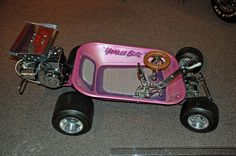 Built by Ed Roth Ed stayed very busy while working at Snow college, he built all three of these miniaturized vehicles during that period. The Wheelbarrow based Yankee Blitz.