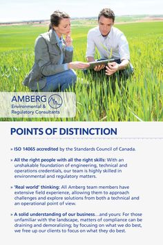 Amberg sets themselves apart from the rest with all the right people with all the right skills, they are ISO 14065 accredited, offer real world thinking and a solid understanding of your business.
