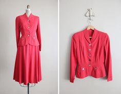 1940s suit / vintage 40s blazer / red crepe suit. $144.00, via Etsy.