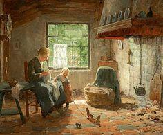 Evert Pieters (Amsterdam 1856-1932 Laren (NH)) Family Happiness - Art Gallery Simonis and Buunk Ede (Netherlands).
