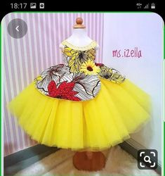 Each time we produce this dress it gets prettier😊😍 and for the love of yellow💛💛💛💛. mom ordered two of these ankara best seller dress and… Dress For Girl Child, Kids Dress Wear, Princess Dress Kids, Kids Gown, African Dresses For Kids, African Wear Dresses, Latest African Fashion Dresses, Baby Dress Design, Baby Girl Dress Patterns