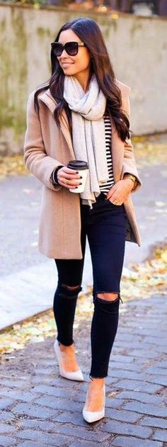 Love the color and style of the jacket. This outfit is cute minus the ripped jeans.