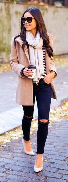 #winter #fashion / camel coat + stripes
