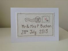 personalised wedding card by caroline watts embroidery | notonthehighstreet.com
