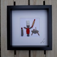Chef Pebble art - framed pebble picture - 40th birthday gift - anniversary gift - best chef gift - unique gift - personalized gift - unusual gift - Anselmo Pebble Art