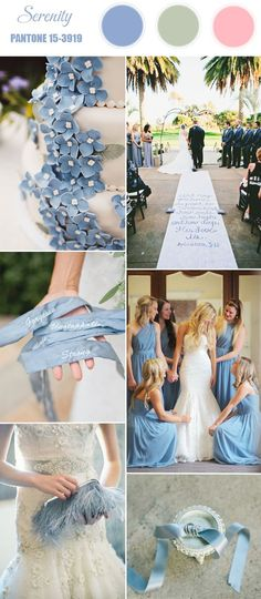 THIS IS IT! THIS IS THE COLOR PALETTE! PLUS NAVY BLUE (GENTLEMENS' SUITS!)  pantone serenity pale blue spring 2016 wedding color ideas