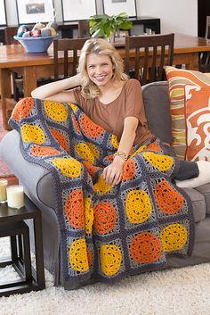 Ravelry: Let the Sun Shine Throw pattern by Katherine Eng - I like these colors Crochet Diy, Crochet Afgans, Love Crochet, Crochet Blankets, Double Crochet, Crochet Flowers, Crochet Squares Afghan, Afghan Crochet Patterns, Knitting Patterns
